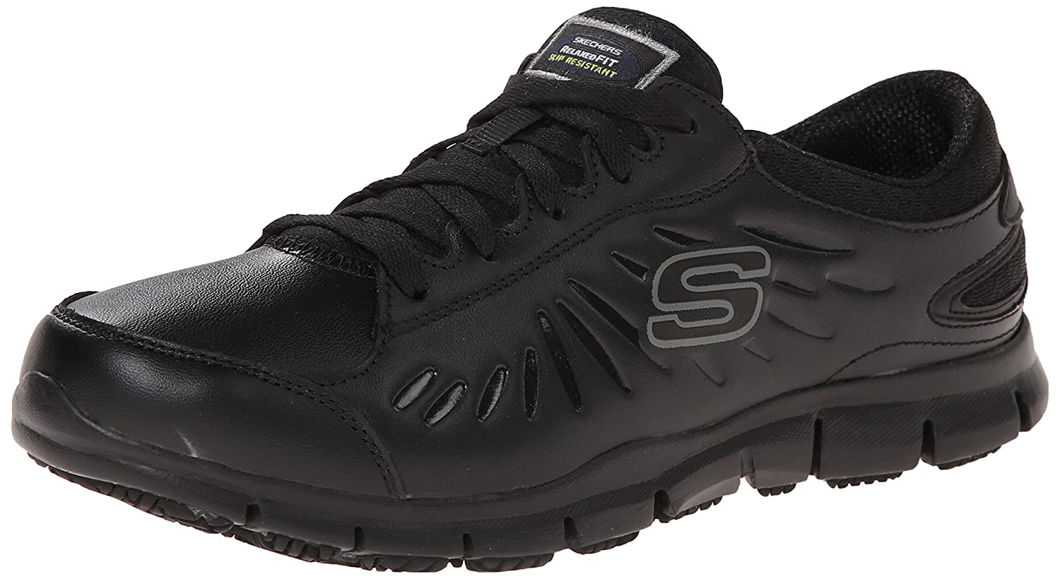 Skechers for B00GM46UYI Work Women's Eldred Slip Resistant Shoe B00GM46UYI for 7.5 B(M) US|Black 175009