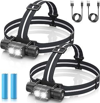 morpilot Linterna Frontal 2PCS Linterna Cabeza USB Recargable 1200 Lumens, 5 Modos, Alta Potencia, Ajustable de 180 Camping, Pesca, Ciclismo, Carrera, ...