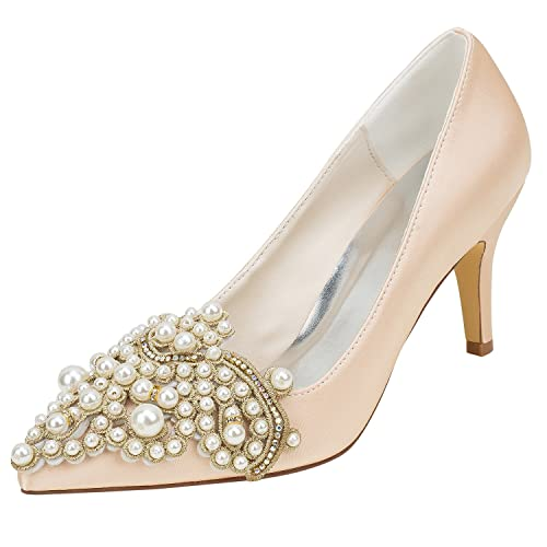 85ea7bc699 Amazon.com | Emily Bridal Champagne Wedding Shoes Silk High Heel Pointed Toe  Pearls Detail Slip on Pumps | Pumps