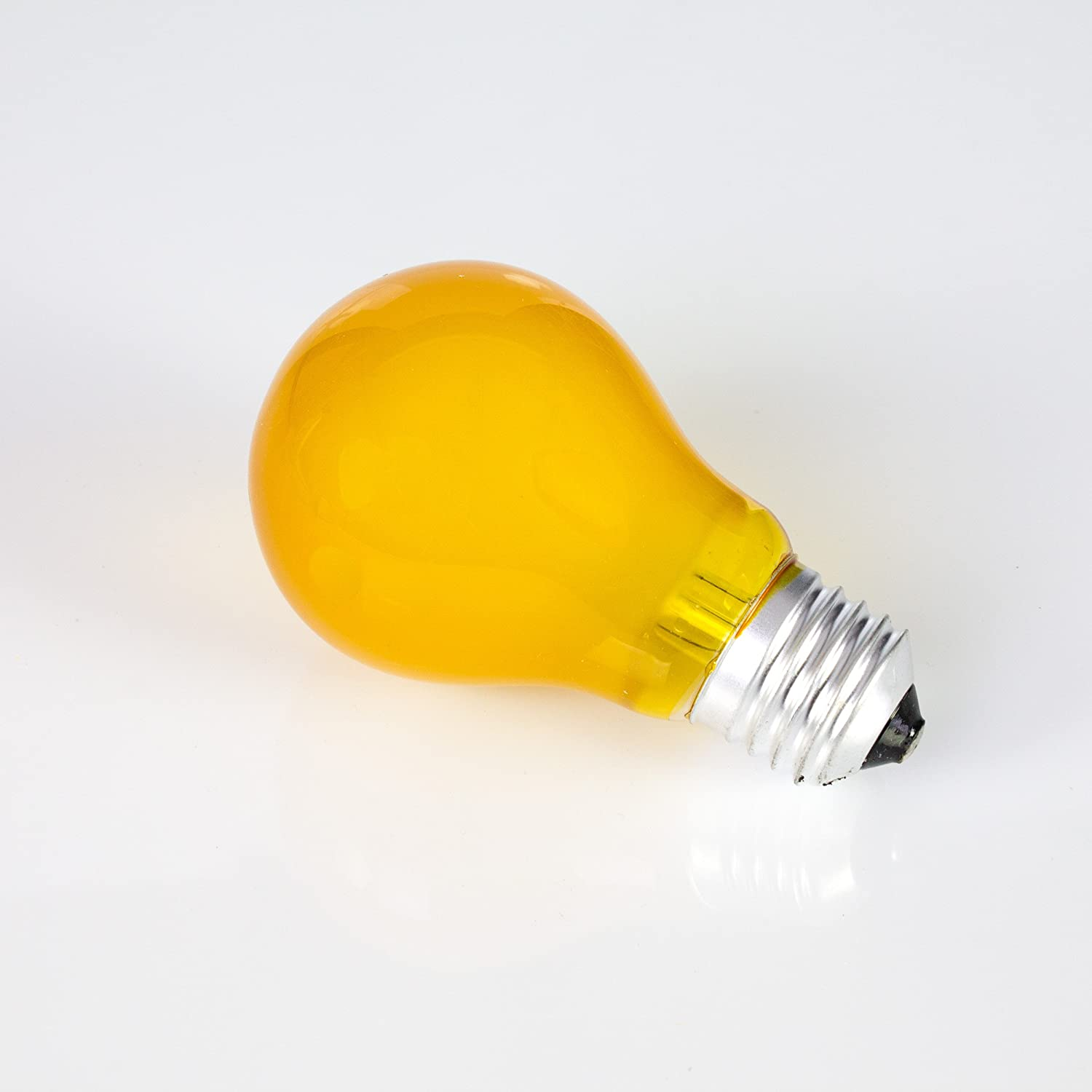 Set of 5 x Coloured Light Bulbs A19 230V / 25W for party lighting / screw cap ES / E-27 / yellow - coloured replacement lamp for ceiling lights - showking 11247-VPE