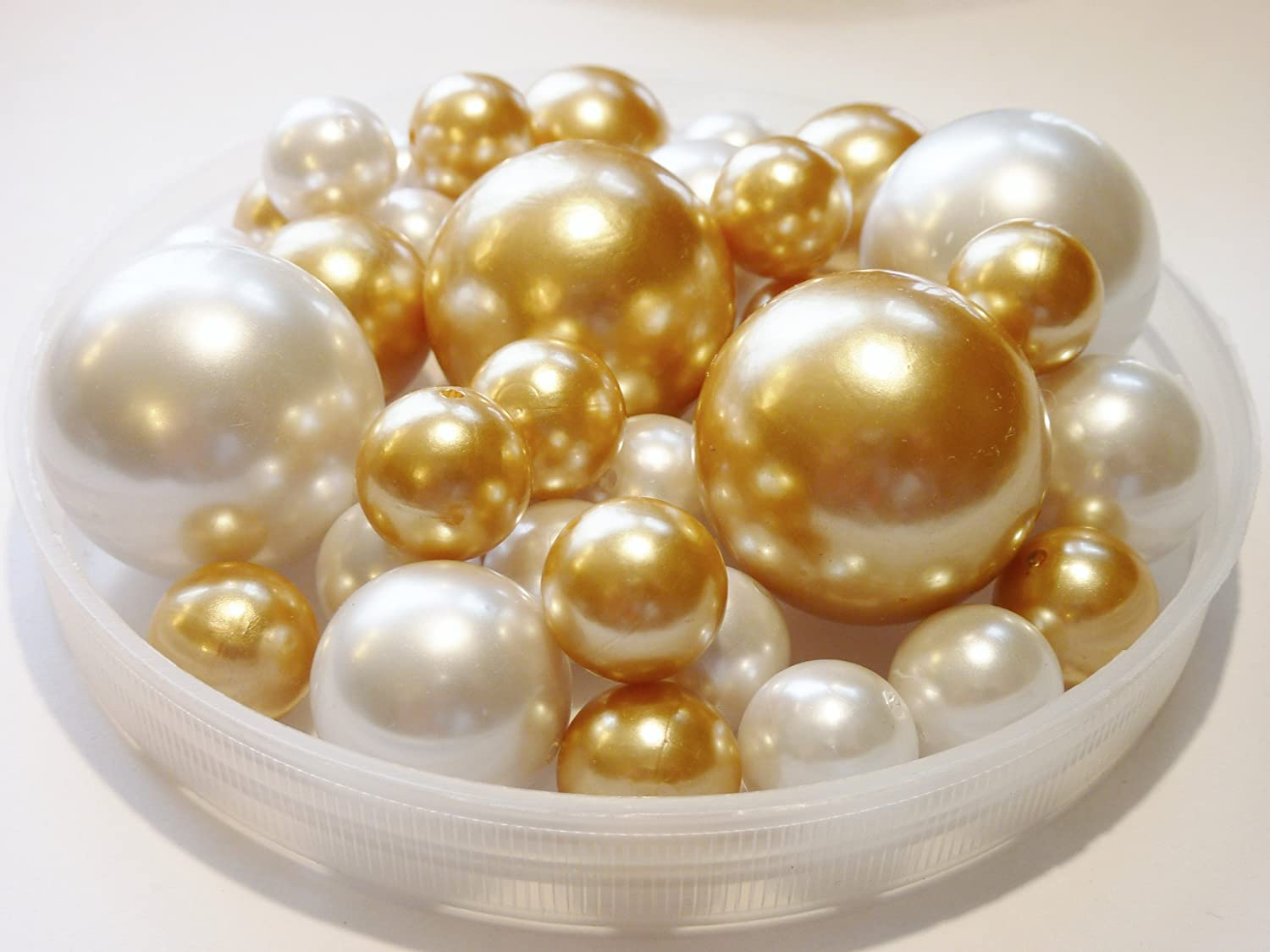 Amazon unique jumbo assorted sizes 80 pieces gold and white amazon unique jumbo assorted sizes 80 pieces gold and white pearls value pack vase fillers not including the transparent water gels for floating the reviewsmspy