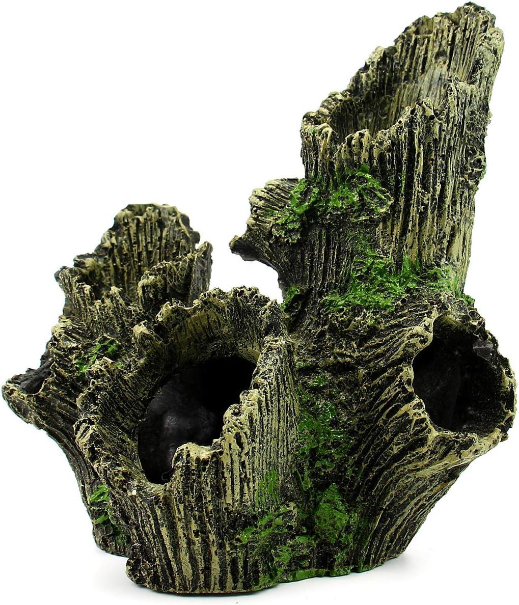 Dvirroi Large Hollow Tree Trunk Decor, 6.7'' X 4.7'' X 7.5'' Driftwood Cave Aquarium Decoration Betta Fish Ornament, Resin Log Fish Tank Decoration Wood with Holes Shrimp Hideout Hideaway Hiding Caves
