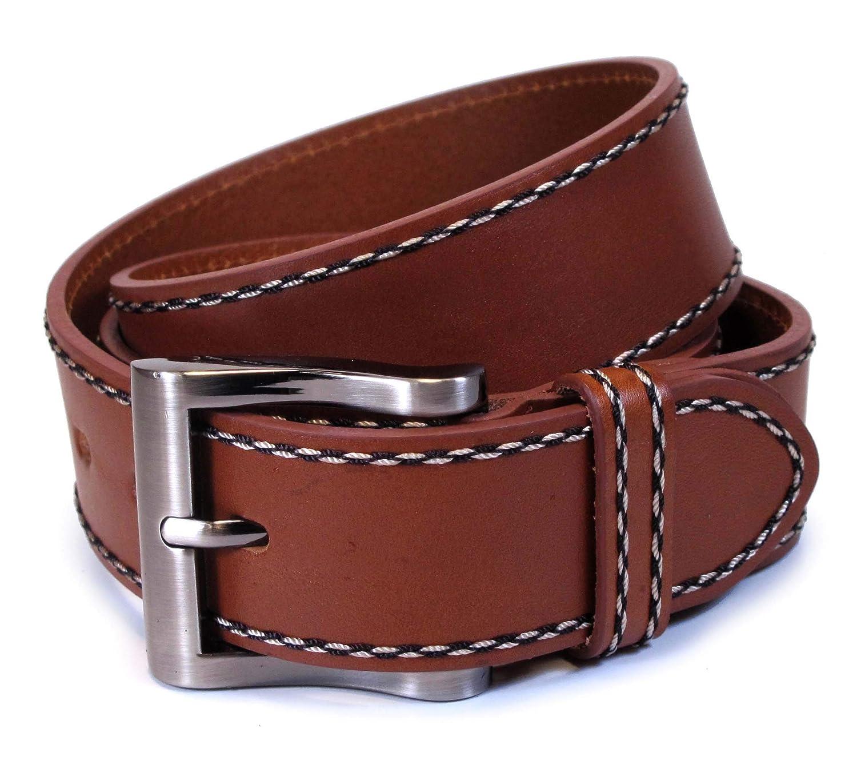 "Burgundy Leather Casual Jean Belt 1-1//2/"" Wide"