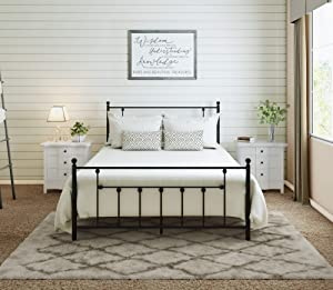 AMBEE21 Victorian Full Metal Bed Frame with Headboard and Footboard Platform/Wrought Iron/Heavy Duty/Solid Sturdy Metal Slat/Dark Black/No Box Spring Needed/Mattress Foundation/Under Bed Storage