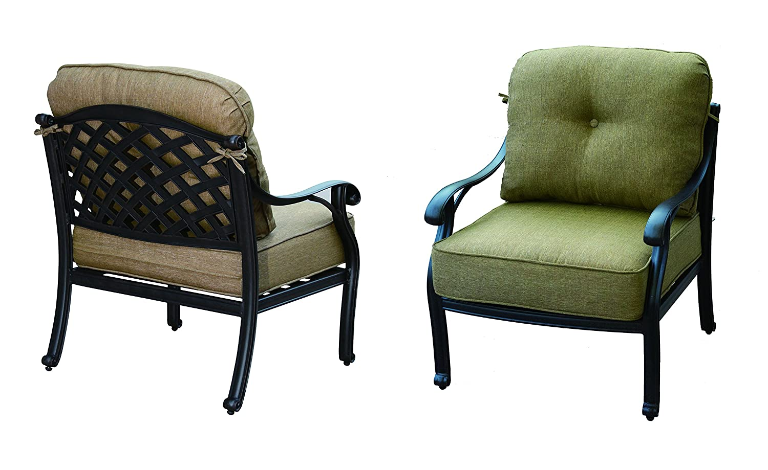 Darlee Nassau Cast Aluminum Club Chair with Seat and Back Cushion, Set of 2, Antique Bronze Finish