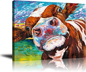 "Wall decor Giclee Canvas, Animal Artwork, Frameless Picture Printed Art, Colorful Cow Face Painting, Home and Hotel Decoration, Ready to Hang, 16"" x 20"""