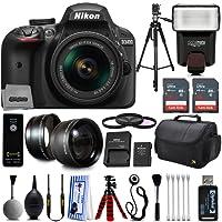 Nikon D3400 Digital SLR Camera + 18-55mm AF-P DX Nikkor VR + 2.2X Telephoto and 0.43X Macro Lens Kit + 32GB Memory + Bounce Swivel Flash + Tripod + Padded Case Bag + UV CPL FLD Filter Bundle + Remote