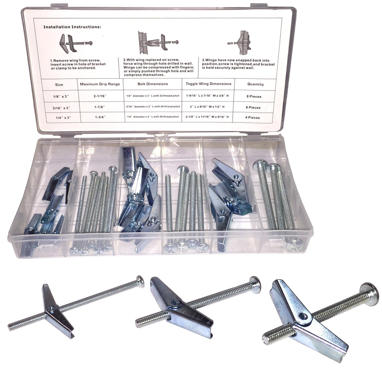 18pc Wing Toggle Bolt Assortment Snap Open Action Zinc Plated Steel Construction