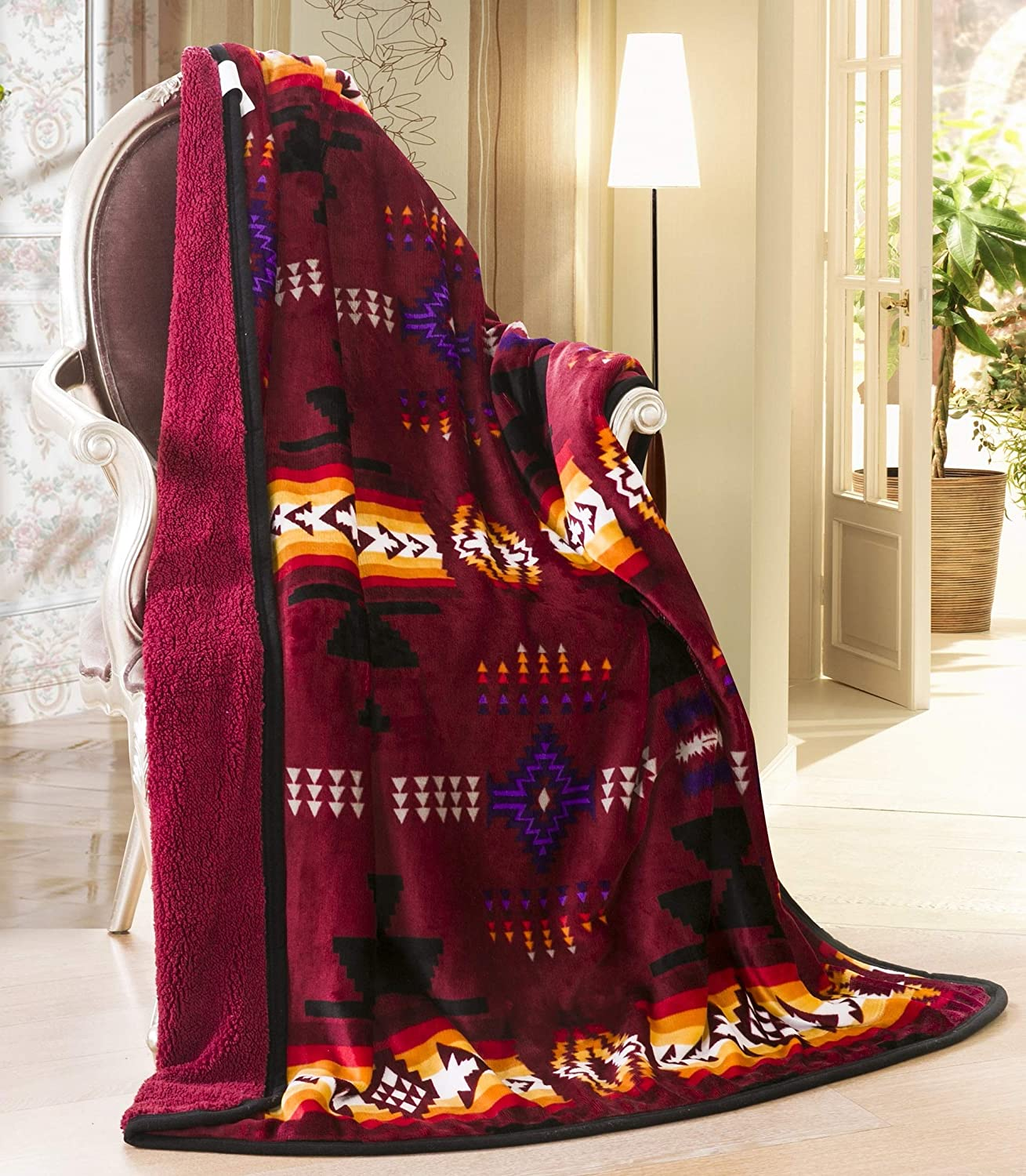 Black SVT 16112 Queen reversible burgundy//black Navajo Print Southwest Design Queen Size Reversible Burgundy