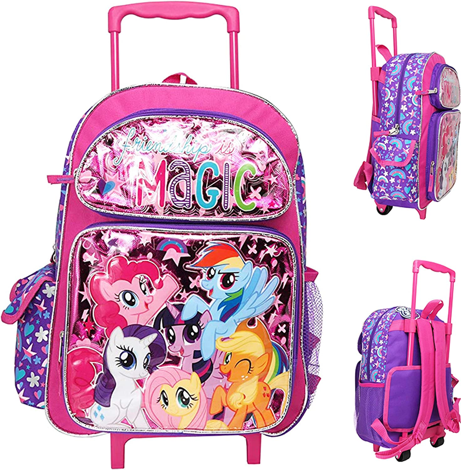 "My Little Pony Purple /& Pink Canvas 16/"" School Rolling Backpack Luggage"