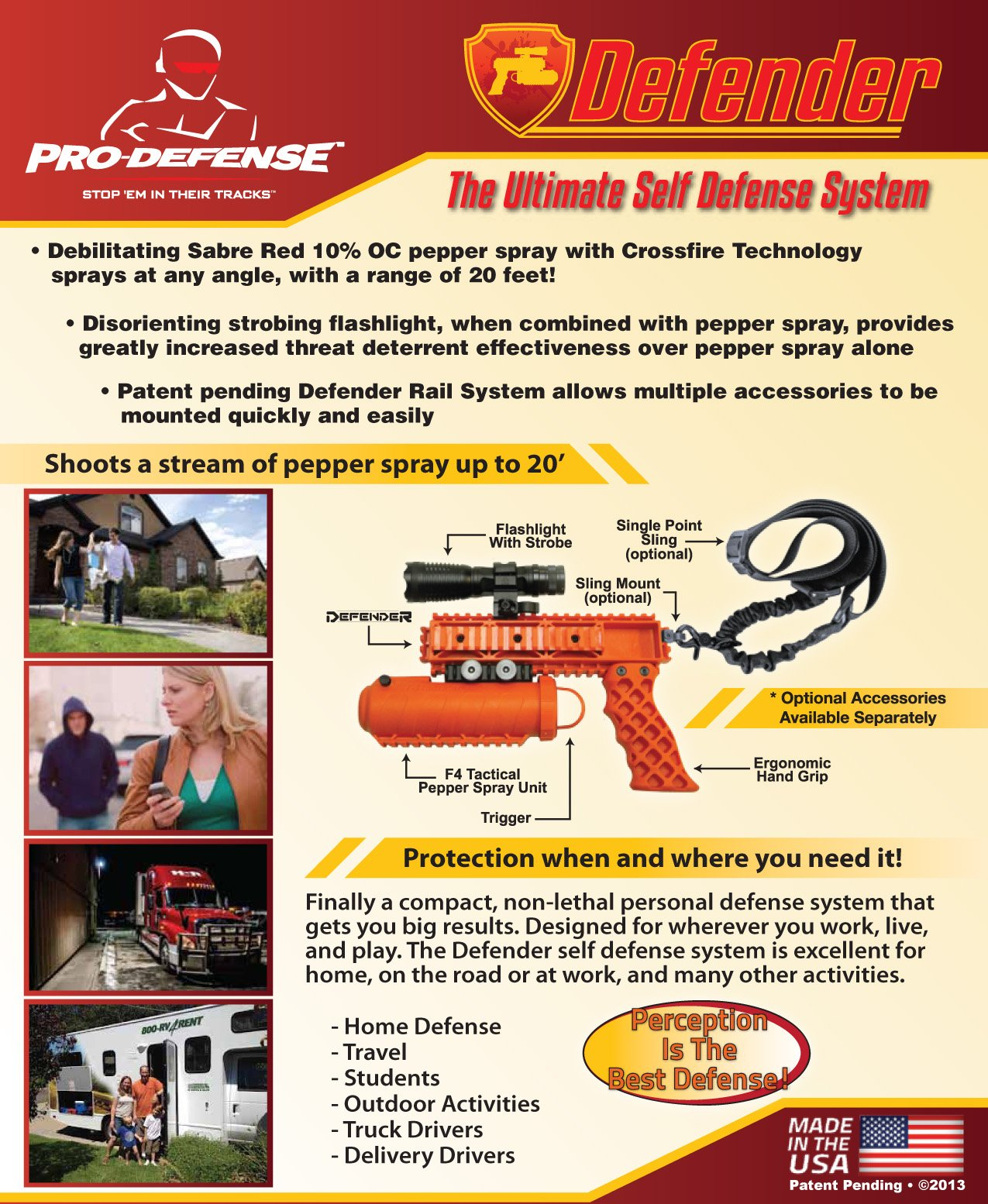 Pro-Defense The Defender Rail Mounted Pepper Spray System, Orange Color, Left/Right