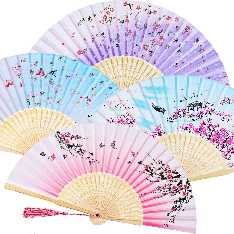Zonon Handheld Floral Folding Fans Hand Held Fans Silk Bamboo Fans with Tassel Women's Hollowed Bamboo Hand Holding Fans for Women and Men (Pink, Purple, 2 Sky Blue)