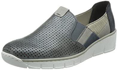 Rieker 53757 Women Loafers, Damen Slipper, Blau (azur/staub/denim/hay/atlantic/12), 38 EU