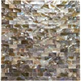 "Art3d Peel and Stick Mother of Pearl Shell Mosaic Tile for Kitchen Backsplashes, 12"" x 12"" Coloful Taxtures"