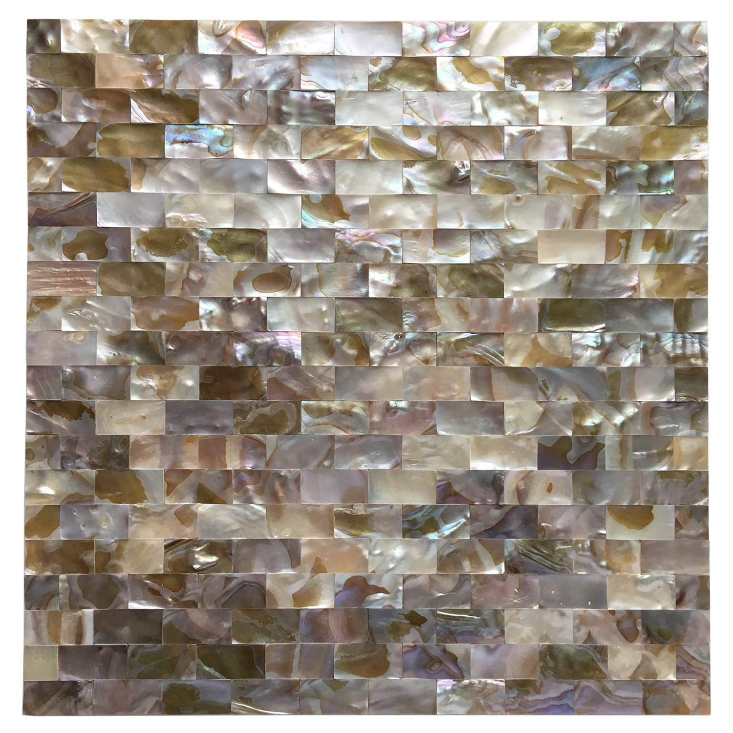 Art3d Peel and Stick Mother of Pearl Shell Mosaic Tile for Kitchen Backsplashes, 12'' x 12'' Coloful Taxtures by Art3d
