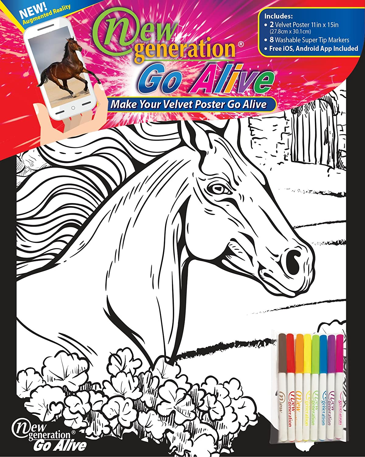 New Generation Go Alive - Horse Coloring Velvet Art Posters 2-Pack Set of 11x15 Inch Color in Posters | 8 Super Tip Washable Markers Included| Horses Value Pack Fuzzy Posters Great Gifting idea