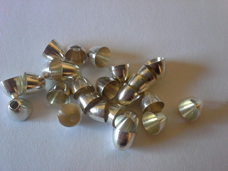 Fliegenbinden Conehead Kopfperlen silberfarben 6,0mm, 25Stück