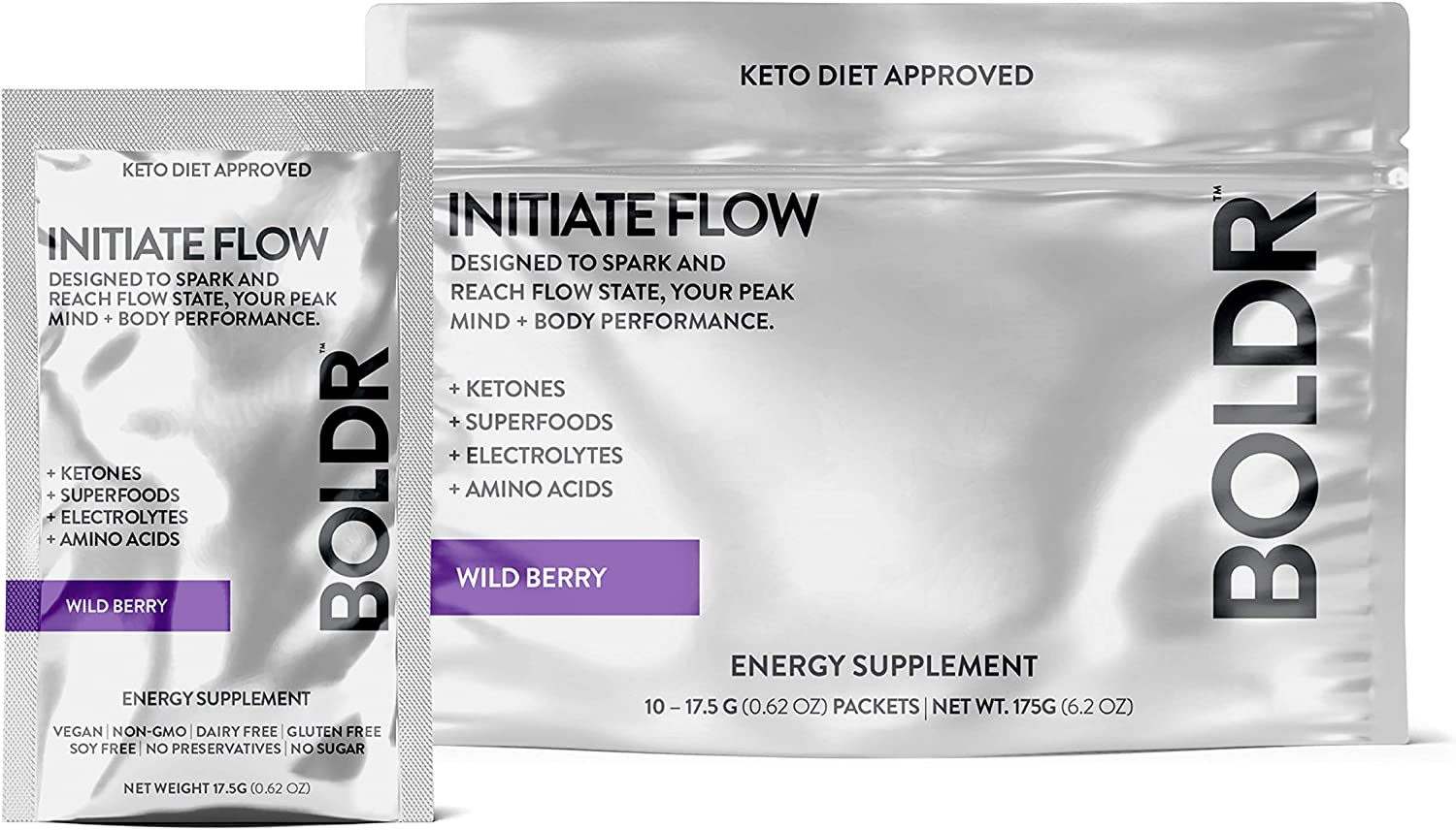 BOLDR Clean Energy Drink Mix, Sugar Free Super Powder for Healthy Energy and Hydration with Vitamin B12, Caffeine, Ketones, Superfoods and Electrolytes in Packets (Wild Berry Flavor, 10 Pack)