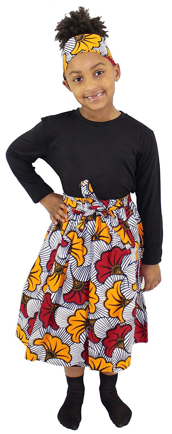 African Planet Girl's Ankara Wax Skirt with Matching Headwrap