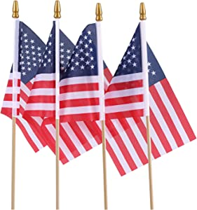 Small American Flags on Stick, Perfect for July 4th Decoration, Veteran Party, Grave Marker, Parades, Mini American Flags/Small US Flag/ 5.5 x8.2 Inch Handheld American Flags-Lot of 25