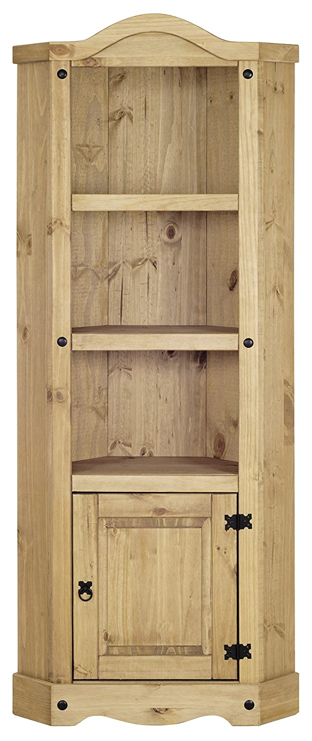 Corona Corner Display Cabinet Bookcase Unit, Distressed Wax Pine Heartlands Furniture P1001-CR
