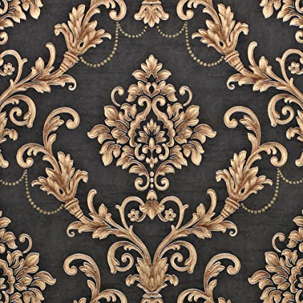 . Nice Houzz Damask Wallpapers Gold Black Victorian Embossed Non Woven Wall  Paper for Living Room Bedroom Bathroom