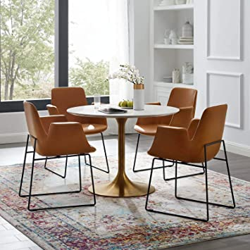 Modway Lippa 40 Mid Century Modern Kitchen And Dining Table With Round White Top And Gold Pedestal Base