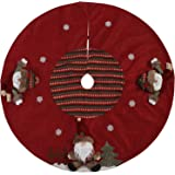 "Sea Team 47"" Luxury Collection Cotton Blend & Non-woven Fabric Double-layer Applique Christmas Tree Skirt with Stereoscopic Pop Christmas Elements, Burgundy"