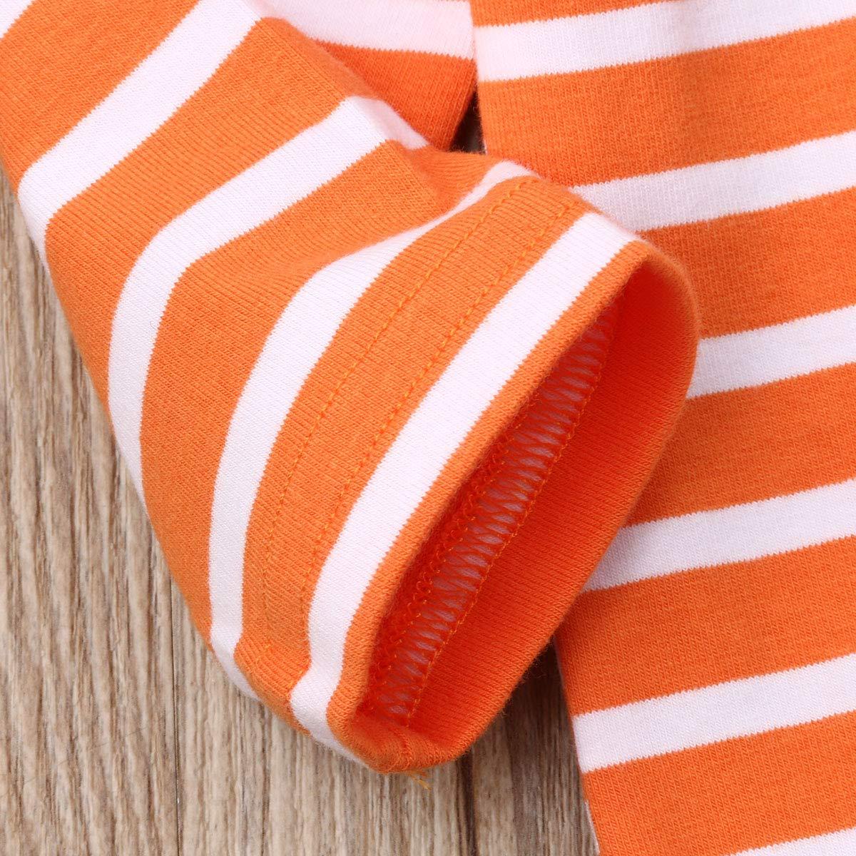 Geagodelia Halloween Newborn Infant Baby Boy Girl Romper Pumpkin Long Sleeve Jumpsuit Hat or Headband Outfit Clothes