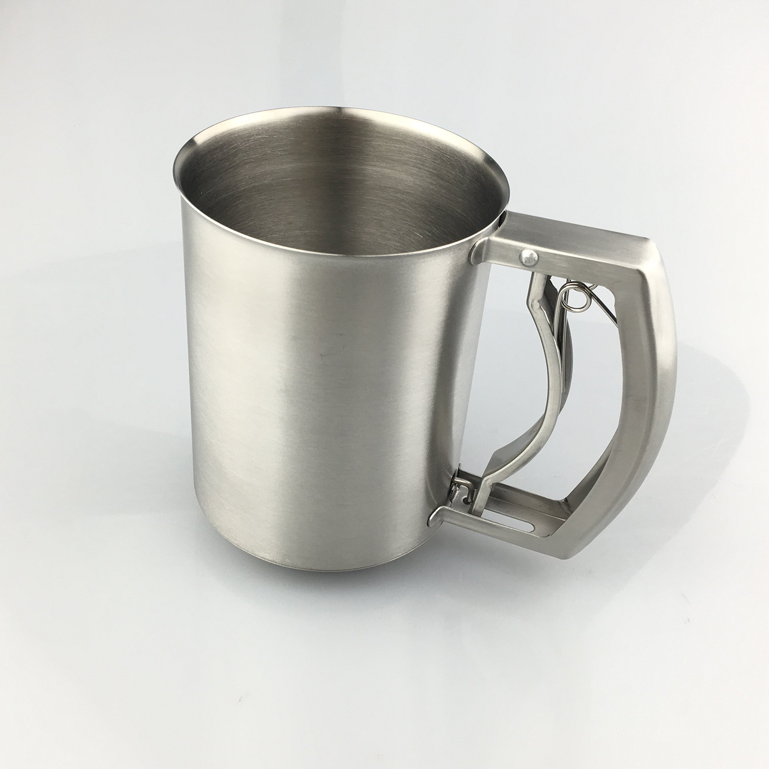 i KiTo 3 Cup Flour Sifter Hand Extrusion 3 Triple-layer Powder Sieve,0.8mm Thick Stainless Steel