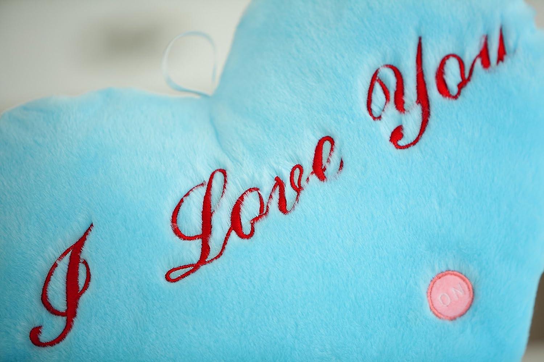 White ZZYOU LED Luminous Heart shape Light Pillow Plush Pillow Cushion Party Birthday Gift with I love you