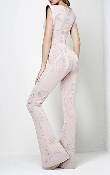 5f677887892 Leger Babe Kasie Rose Multi-Texture Plaited Jacquard Jumpsuit at Amazon  Women s Clothing store