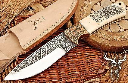 Amazon Com Custom Handmade 10inch Steel Knife With Bone Handle Carving Popular Gift Item Sports Outdoors