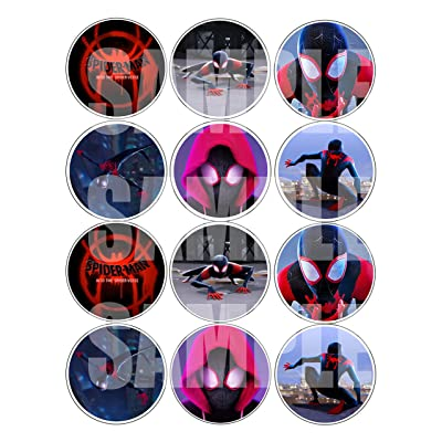 "Spiderman Into The Spider-Verse Stickers - Large 2.5"" Round Circle Stickers to Place onto Party Favor Bags, Cards, Boxes or Containers -12 pcs, Avengers Marvel Comics Super Hero: Toys & Games"