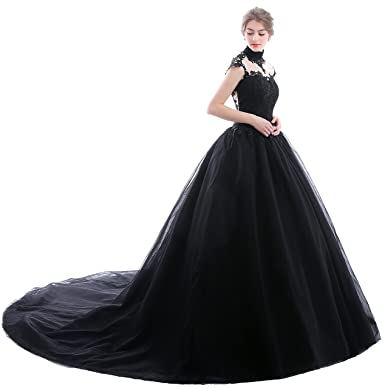 PROMNOVAS Women\'s High Neck Tulle Bridal Gowns Wedding Dresses at ...