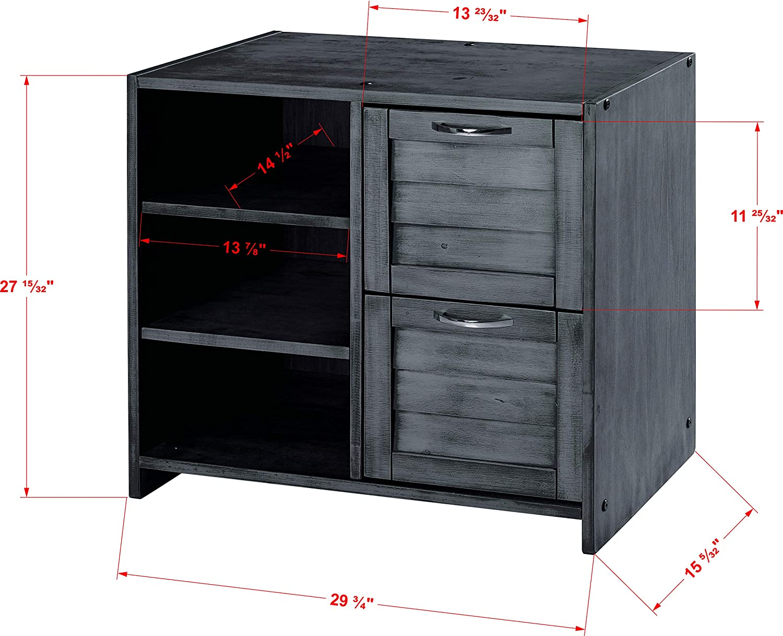DONCO KIDS Louver 2 Drawer Chest/Shelves, Antique Grey: Furniture & Decor