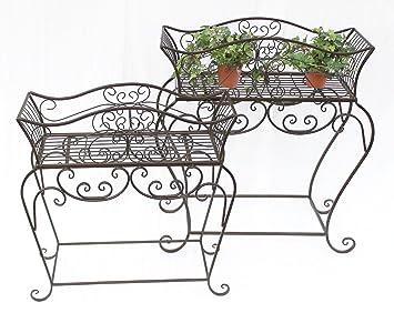 Pflanzständer Blumenständer Metall schwarz Blumenbank Blumenregal Beistelltisch