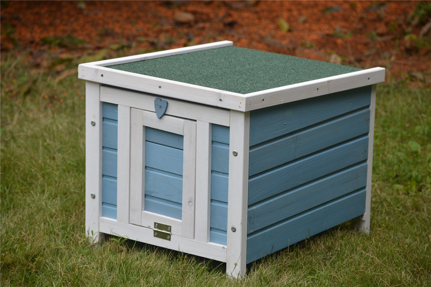 Amazon.com : BUNNY BUSINESS Cat/Puppy/Rabbit/Guinea Pig Wooden Hide House, 51 x 44 x 42cm, Blue : Pet Supplies