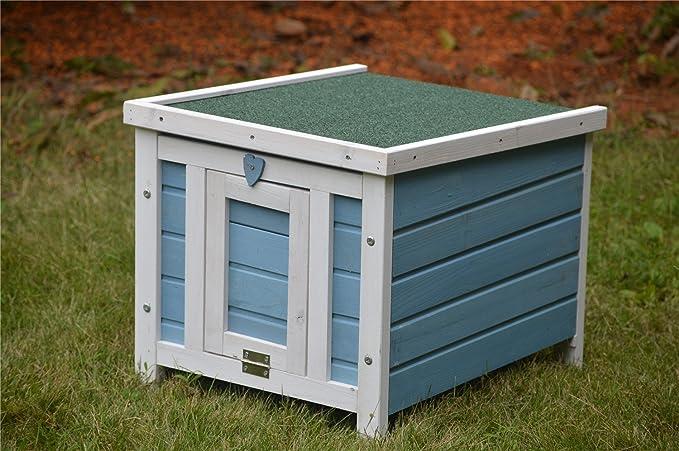 Amazon.com : BUNNY BUSINESS Cat/Puppy/Rabbit/Guinea Pig Wooden Hide House, 51 x 44 x 42cm, Blue : Pet Supplies
