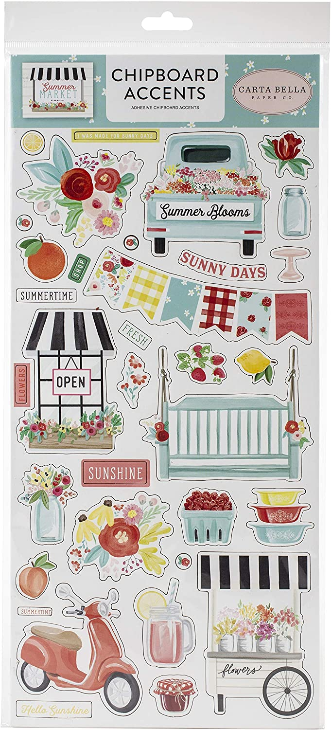 red Black Carta Bella Paper Company CBSUM115021 Summer Market 6x13 Accents chipboard Green Yellow Teal Pink