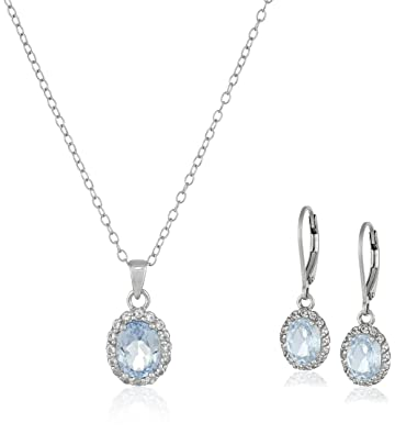 Amazon sterling silver blue and white topaz pendant and sterling silver blue and white topaz pendant and earrings set aloadofball Choice Image