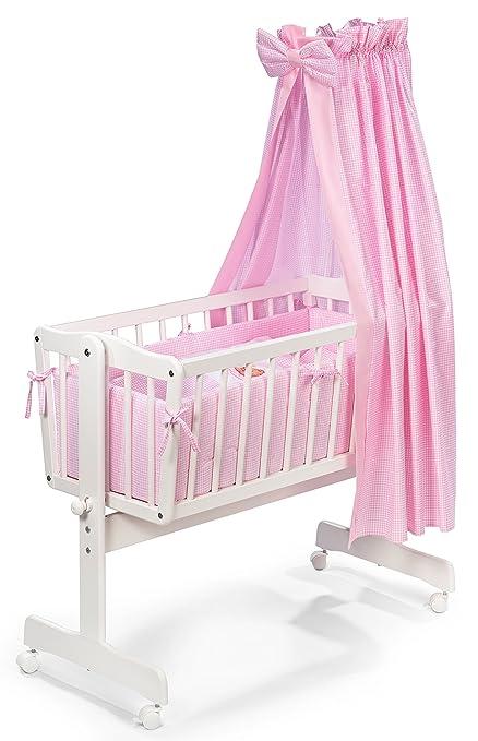 4-teiliges Set für WiegeWiegen-SetWiegenausstattungWiegenwäsche rosa