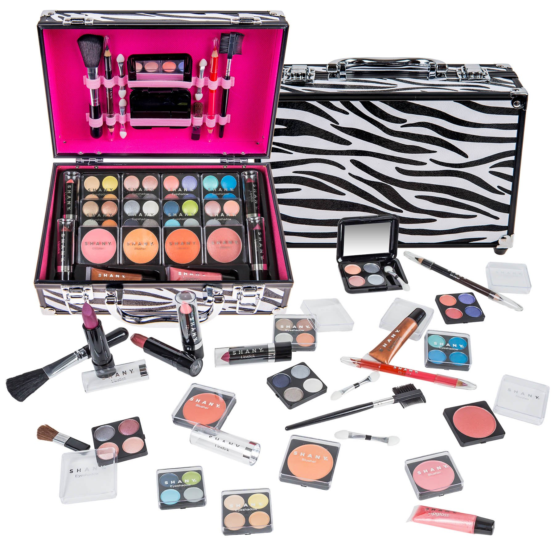 SHANY Carry All Makeup Train Case with Pro Makeup and Reusable Aluminum Case, Zebra