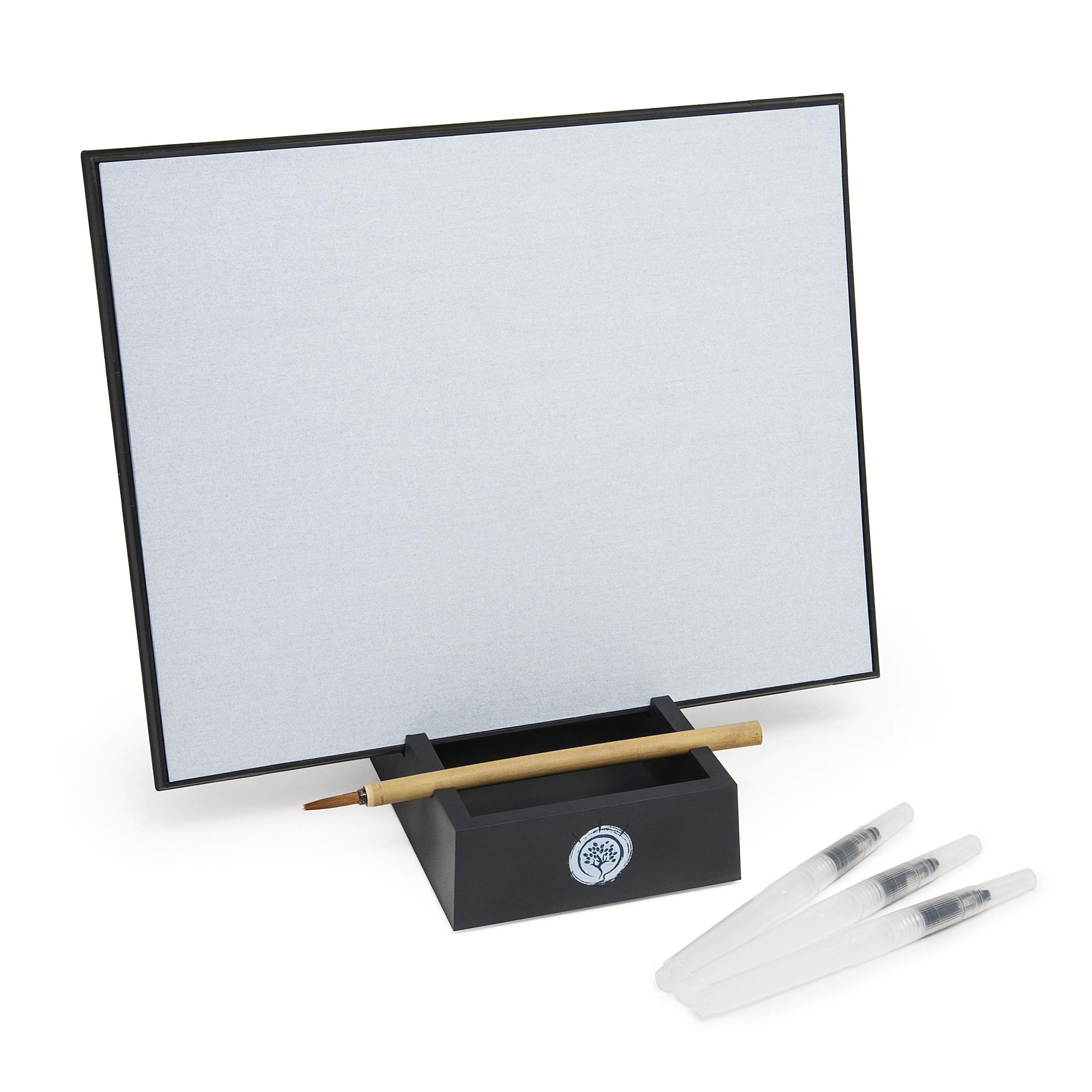 Zen Satori Board, Large - Paint with Water, Meditation & Mindfulness Practice, Great for Classrooms, Includes (3) Water Brushes by ClarkCo
