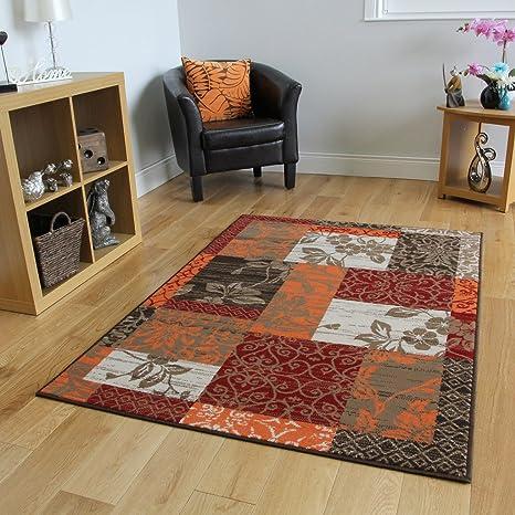 The Rug House Tapis Patchwork Marron, Rouge, Orange, Beige & Crème - 9  Tailles Disponibles