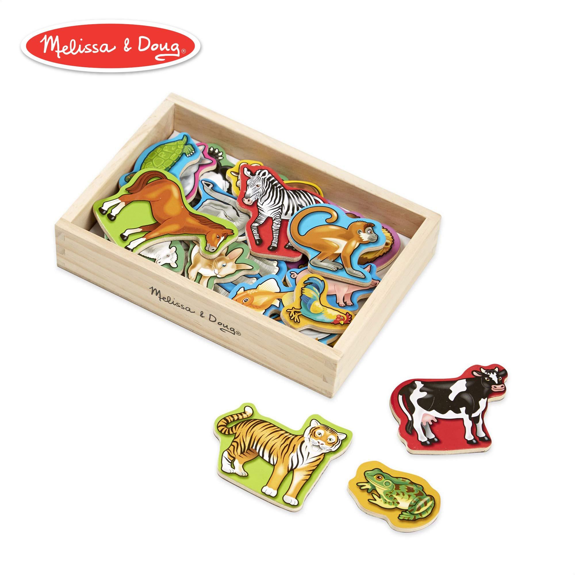 Melissa & Doug Wooden Animal Magnets (Developmental Toys, Wooden Storage Case, 20 Animal-Inspired Magnets) by Melissa & Doug