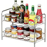 Spice Rack Organizer for Countertop, 2-Tier Kitchen Counter Organizer Spice Rack, Metal Spice Shelf Standing Storage Rack wit