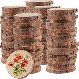 HAKZEON 100 PCS 2.8-3.2 Inches Natural Wood Slices, 2/5 Inches Thick Wood Rounds with Bark, Unfinished Wooden Discs for Crafts Rustic Wedding Ornaments, DIY Arts Christmas Home Decor