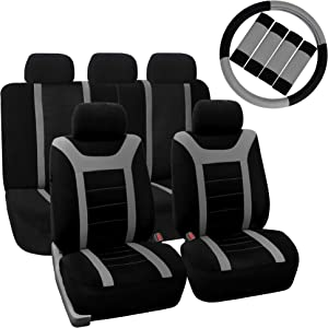FH Group FB070115 Sports Seat Covers (Gray) Full Set with Gift – Universal Fit for Cars Trucks & SUVs