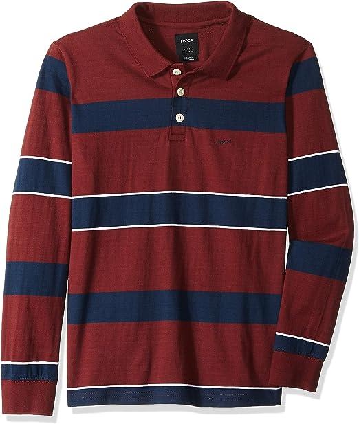 RVCA Boys Darklands Striped Long Sleeve Polo